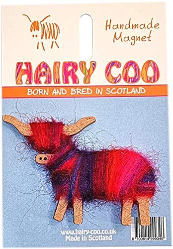 The Hairy Coo Shop Magnet mit Mohair-Mantel in Schottland-Optik, handgefertigt in Schottland (Rosa, Rot, Violett)