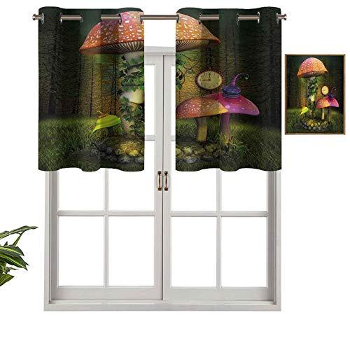 Hiiiman Moderna cortina de ventana con cenefa de bosque de ficción con setas gigantes y elfos mágicos de cuento de hadas, juego de 1, paneles opacos decorativos para el hogar de 132 x 45 cm