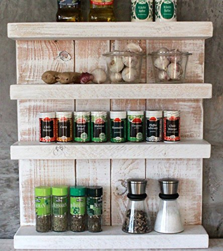 Dekorie Gewürzregal aus Holz - für die Wand oder stehend - Vintage Weiß - 4 Stellflächen - 57 x 50 x 12 cm - Massivholz
