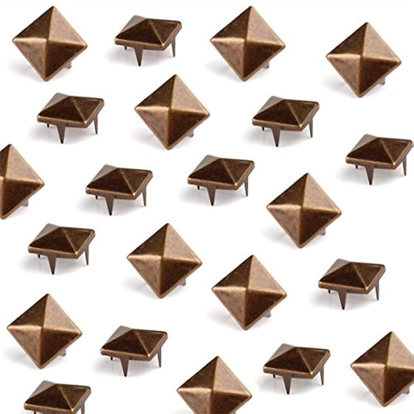 Vikeva 100x 7mm Bronze Pyramid Spots Studs Rivets Spikes DIY Belt Leathercraft
