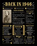 Back in 1946 Poster - [Unframed 8x10] - 75th Birthday Gifts for Woman or Man - funny Gifts Ideas for Grandma and Grandpa - Black Birthday Poster - Birthday Decorations