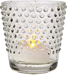 Luna Bazaar Glass Candle Holder (2.5-Inch, Candace Design, Hobnail Motif, Clear) - for Use with Tea Lights - for Home Decor, Parties, and Wedding Decorations