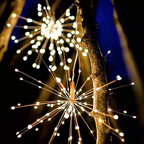 QPOWY Luces LED de Cuerda Lámpara con Pilas Luces de Hadas Impermeables Guirnalda de Navidad para habitación/jardín/Ventana/decoración de Interiores