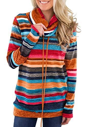 BLENCOT Pullover Autunno Collo Alto Felpe da Donna Senza Cappuccio Maglione Manica Lunga con Tasca Felpe Invernale a Righe con Bottoni, Multicolore, L