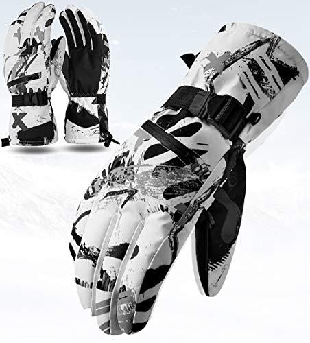CXW Skihandschuhe Touchscreen Thermohandschuhe Wasserdicht Snowboard Handschuhe für Damen und Herren (Weiß & Grau Graffiti, S)