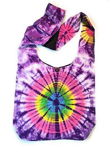 Tie Dye Crossbody Shoulder Hippie Boho Handbag Purse in Purple