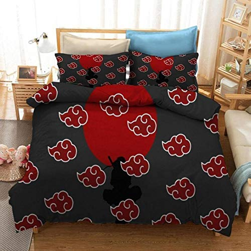 zxczxc Japan Anime Naruto Akatsuki Bedding Sets Fashion Quilt Cover Duvet Cover Set Twin Full Queen King Bedclothes Pillowcase Kid Gift