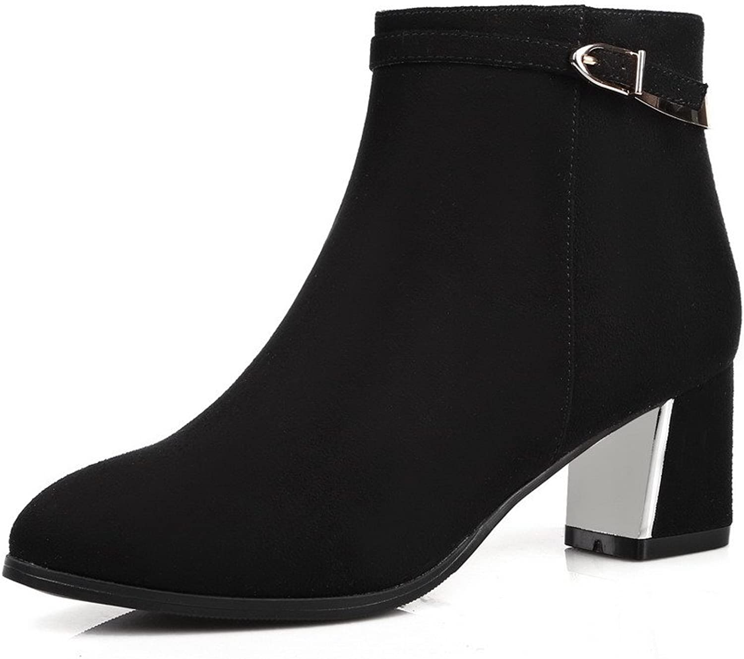 AmoonyFashion Women's Round-Toe Closed-Toe Kitten-Heels Boots with Rubber Soles and Rough Heels