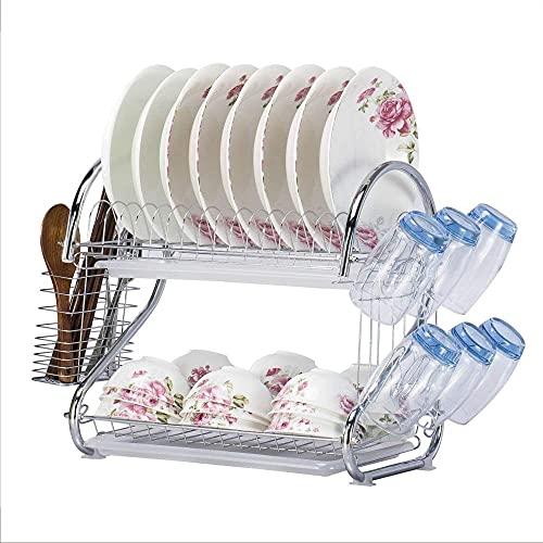 Estante para platos de 2 capas y estante para secar platos, estante de cocina para tabla de drenaje, caja de almacenamiento de vajilla de doble taza, ahorro de espacio