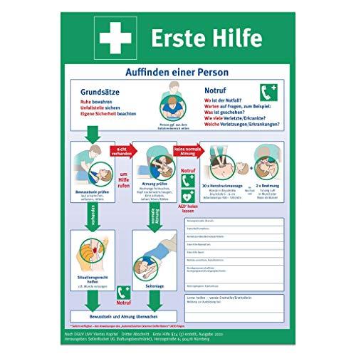 Erste Hilfe Plakat/Aushang - DIN A3 - neuster Stand 2020 - gefalzt - gemäß DGUV