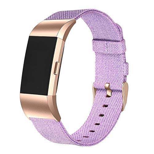 bayite Canvas Bands Compatible with Fitbit Charge 2, Soft Classic Replacement Wristband Straps Women Men, Lavender with Rose Gold Connector Small (5.5-6.7 Inch)