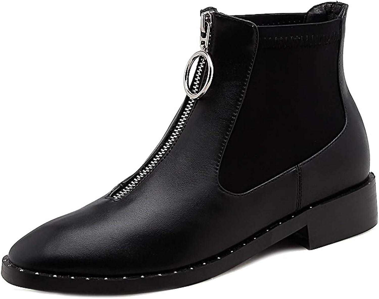 Melady Women Fashion Chelsea Booties Slip On Ankle Boots Zipper