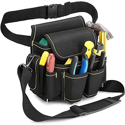 Bolsa para herramientas de electricista resistente con clip para cinturón, bolsa de herramientas profesional multi bolsillos, bolsa de lona con cinturón de nailon ajustable para electricistas