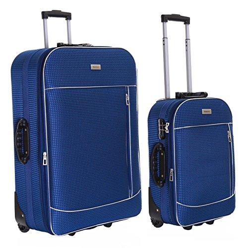 Slimbridge Leichtgewicht 2er Koffer-Set Trolley-Set Rollkoffer Reisekoffer Große XL und Handgepäck Gepäck Super Leicht Erweiterbar Ausdehnbar mit 2 Rollen und Integriert Nummernschloss, Rennes Blau