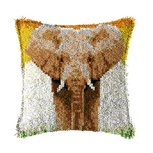 LAPATAIN Latch Hook Kits for DIY Throw Pillow Cover,Elephant Pattern Needlework Cushion Cover Hand Craft Crochet for Great Family 15.7X15.7inch