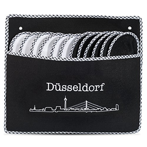 ONVAYA ABS Gästepantoffel Skyline Düsseldorf | Hausschuhe | 6er Set | Antirutsch | Gästeschuhe | Filz