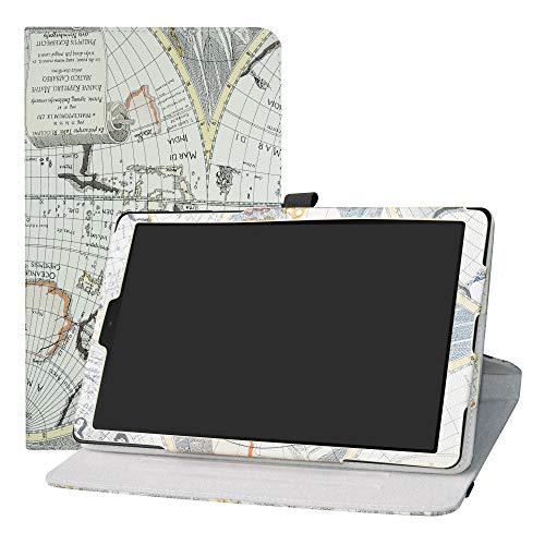 LFDZ Samsung Galaxy Tab A 10.1 Rotante Custodia, Slim Girevole Smart 360 Gradi di Rotazione Case Cover Custodia Protettiva per 10.1' Samsung Galaxy Tab A 10.1 T510 T515 2019 Tablet,Map White