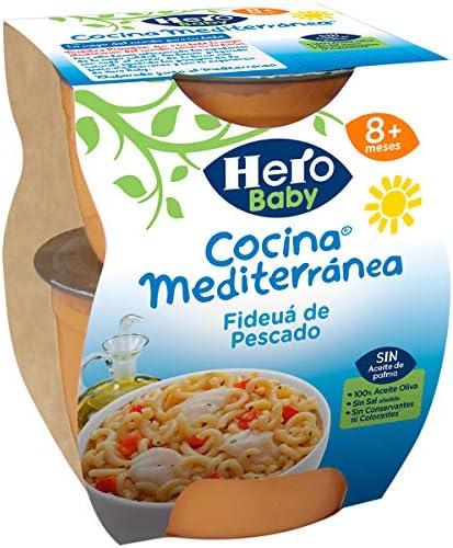 Hero Baby Cocina Mediterránea Mediterránea Fideuá de Pescado, Tarrina de Plástico - Paquete de 2 x 200 gr - Total: 400 gr - [Pack de 6]: Amazon.es: Alimentación y bebidas