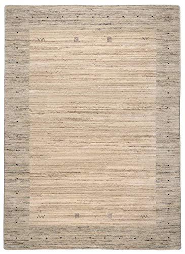 Moderner Gabbeh Teppich extra dick | Nachhaltig handgefertigt aus 100% Schurwolle mit Wollsiegel und Rugmark | 170 x 240 cm; Farbe: beige natur | Lori Dream Super