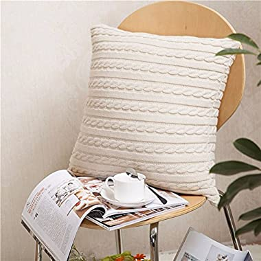 Cable Knitting Throw Pillowcase 18 x 18inch Super Soft 100 Cotton Breathable Sweater Cushion Cover Square Knitting Home Decorative Pillowcase\Beige by MisDress