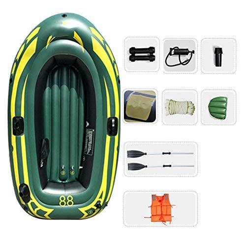 WNN Flotador Kayak Inflable del Barco del Agua Bomba de Aire Profesional Material PVC Pesca 2 Persona ambientado con remos (Verde del ejército) URG