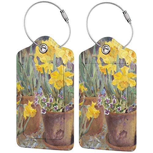 Leather Travel Luggage Tags,Potted Daffodils Printed Travel Id Labels,Business Card Holder,Suitcase Labels,Travel Accessories,with Privacy Cover Stainless Steel Ring