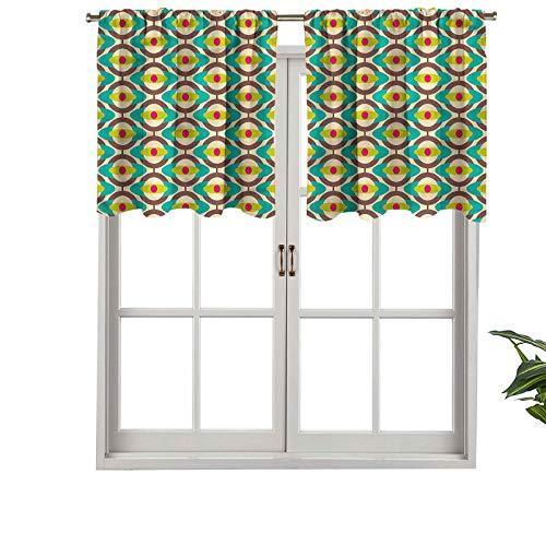 Hiiiman Cortina de ventana con filtro de luz para barra, cenefa Groovy Bauhaus Art Tile, juego de 2, 42 x 24 pulgadas para ventanas, dormitorio, cocina o baño