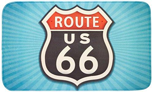 WENKO 21583100 Badteppich Vintage Route 66, 100 % Polyester, Mehrfarbig