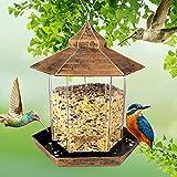 GESPERT Vogelfutterspender, Futterautomat zum Hängen, Vogelfutterspender zum Aufhängen, Futterstationen für Wildvögel, Vogelhaus Futterhaus Natürliche Garten und Balkongestaltung
