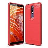 SCL Nokia 3.1 Plus Hülle Für Nokia 3.1 Plus Hülle, [Rot] Handyhülle Exquisite Serie-Carbon Design Schutzhülle mit Anti-Kratzer & Anti-Stoß Absorbtion Technologie für Nokia 3.1 Plus