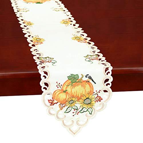 """Thanksgiving Fall Decor Table Runner Pumpkin Sunflower 69/""""x 13/"""" Embroidered"""