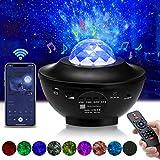 Proyector Estrellas, Elfeland Proyector de Luz Estelar LED 360°Giratorio 10 Colores 21 Modos Reproductor de Música con...