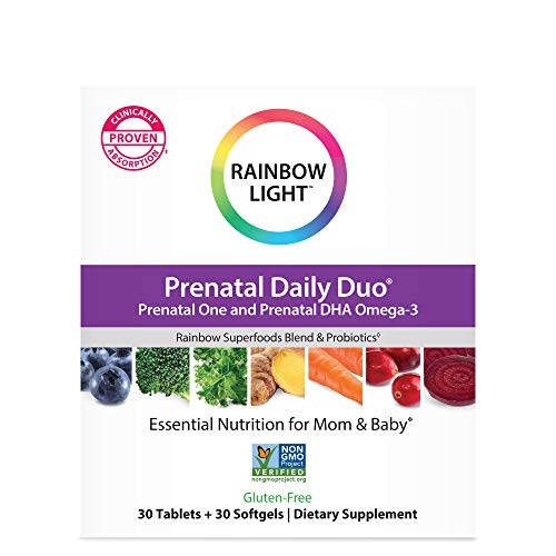 Rainbow Light Prenatal Daily Duo: Prenatal One Multivitamin & Prenatal Dhal, 30 Tablets & 30...