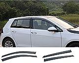 Xtrdye, 4 deflettori d'aria per auto, compatibili con Golf Mk7 (2014-2019), vetro acrilico, vetro laterale, parasole, pioggia e neve