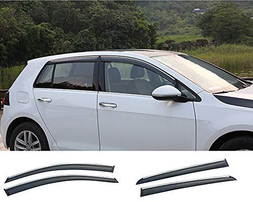 Xtrdye 4 deflectores de viento para coche compatibles con Golf Mk7 (2014-2019), cristal acrílico para puerta lateral de ventana de sol, protector solar para lluvia y nieve