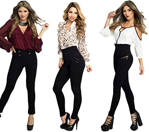 HOLLYWOOD PANTS High Waist Slimming Waist Shaping Hourglass Shape Leggings - 3 Styles Per Pack (Buttons, Zippers, Rhinestones) (S/M (6-12)) Black