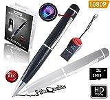 Caméra Stylo FabQuality Cachée 1080P HD Caméra Espion avec Enregistrement vidéo/Audio/Photographie/Enregistrement en Boucle Mini Caméra Carte 16GB