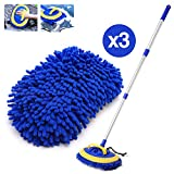 HOUSE DAY 2-in-1 Car Wash Mop Mitt Long Handle Chenille Microfiber Car Wash Dust Brush Extension Pole Flexible Rotation Scratch Free Cleaning Tool Dust Collector Supplies,3 Pcs Mop Heads (Blue)