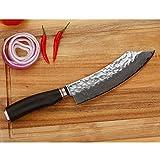 YOUSUNLONG Metzgermesser 8-Zoll (20.50cm) Japanischer Ebenholz Blockmesser Japanischer VG10-Griff aus gehämmertem Damaststahl aus natürlichem Ebenholz aus Holz mit Lederscheide - 8