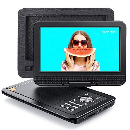 APEMAN - Reproductor de DVD portátil para coche (10,5 pulgadas, con soporte para coche, pantalla giratoria, reproductor de CD portátil, batería integrada de 7 horas, compatible con SD/USB/AV Out/IN)