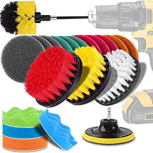 電動掃除用ドリルブラシ 22点 掃除用ブラシセット GOH DODD 洗車用ブラシ 回転ブラシ 延長ロッド付き トイレ、お風呂、浴槽、浴室、キッチン、床、タイル、カーペット、車、タイヤなどに