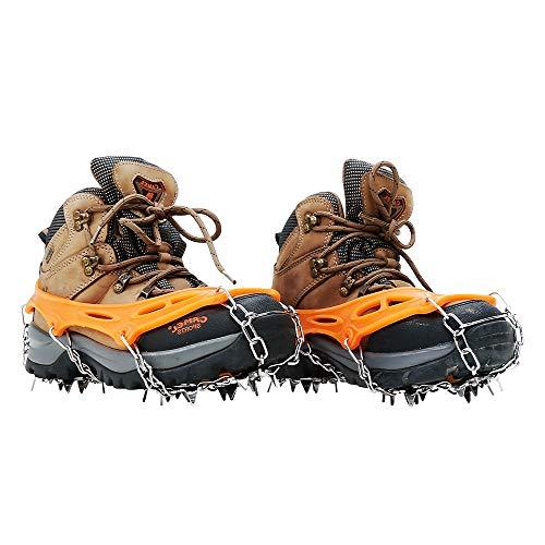 HEWOLF Steigeisen Eisschnee Griffe – 19 Zähne Eisspikes Schnee Griffe für Schuhe und Stiefel Rutschfeste Schuhe Edelstahl Spikes Eisklampe für Wandern, Trekking und Bergsteigen im Winter, Orange, m