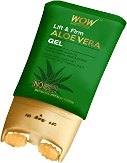 WOW Skin Science Lift & Firm Aloe Vera Gel infused with Hyaluronic Acid, Vitamin B & E,with Double Roller Massager for fir...