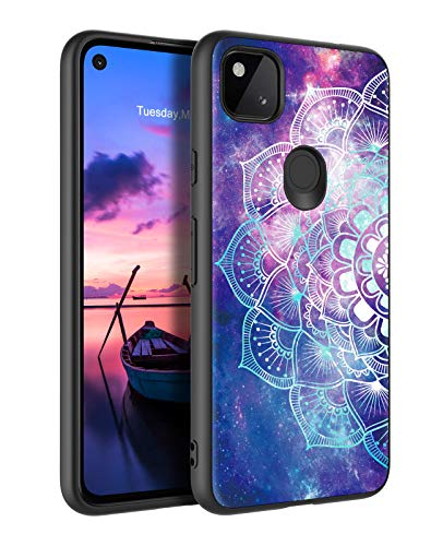 GUAGUA Compatible for Google Pixel 4a 4G Case Mandala Flowers Space Nebula Slim Glow in the Dark Noctilucent Luminous Cover Protective Case for Google Pixel 4a 4G 2020 Purple [NOT fit for Pixel 4a 5G]