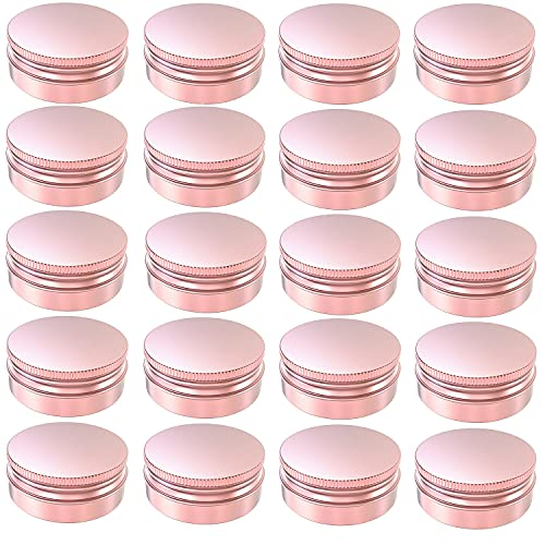 AQSXO 2 oz Rose gold tins, Round Aluminum Cans, for Candles,Cosmetic, Lip Balm, Cream, 20 Pcs.