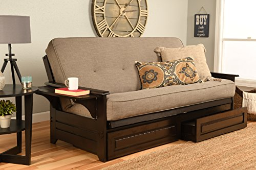 Kodiak Furniture Phoenix Futon Set with Espresso Finish and Storage Drawers, Included, Linen Stone Mattress