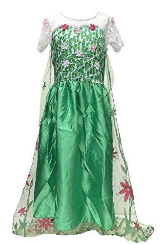La Señorita Elsa Frozen Fever Vestido de Princesa para niña Capa Largo Disfraz Verde (9-10 años - 140, Verde) + Collar Frozen Gratuito
