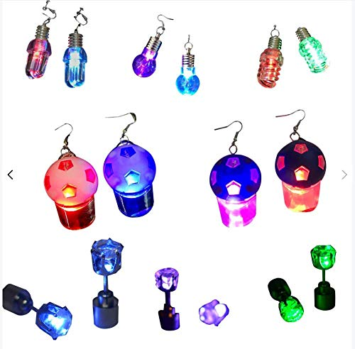 FunPa LED Ohrringe, 8 Paar LED Leuchten Ohrringe Glowing Ear Drop Blinkt Blinkende Ohrringe Ohrstecker Anhänger Zubehör für Dance Party Bar für Männer Frauen