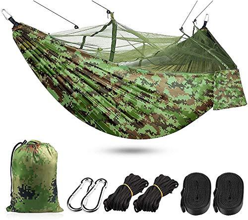 SUOMO Hamaca Hamaca Mosquitera Net para Acampar, Hamaca al Aire Libre Ultraligero y Transpirable 260 x 140 cm, 300 kg de Capacidad de Carga, Hamaca de Secado rápido de Nylon (Color : Camouflage)