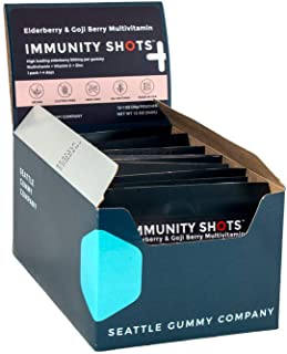 Immunity Shots - Elderberry and Goji Berry 500mg Multivitamin Gummies (12-Packs, 2 Per Pack) Immune System Support Supplem...
